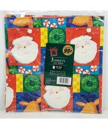 Vintage Cleo Wrapping Paper Christmas Cartoon Santa 3 Sheets 12.5 Sq Fee... - $9.99