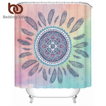 BeddingOutlet Mandala Shower Curtain Pink and Blue Waterproof Curtain Bo... - $32.90