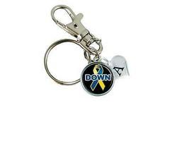 Custom Down Syndrome Awareness Ribbon Silver Key Chain Initial Family Charm Blue - $10.22