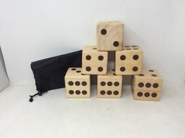 Clearance- Get Out!™ Giant Yard Dice Set 6 Wooden Dice in Drawstring Car... - $18.90