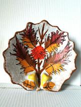 Maple Leaf Dish Candy Ashtray Japanese Bowl Pottery Chopstick Holder - $12.19