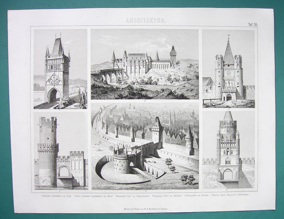 Primary image for ARCHITECTURE City Gates Prague Cracow Basel Hungary - 1870s Superb Print