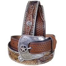 U-8-42 42 Inch Western Nocona Hair Star Concho Brown Leather Mens Belt - $59.99