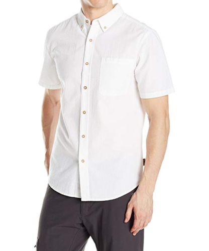 Small Royal Robbins Men's Mid-Coast Seersucker Short Sleeve Shirt White