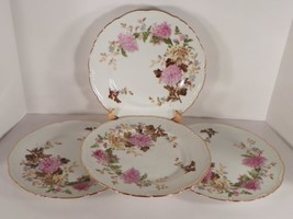 Halsey AUTUMN DAWN Dinner Plate (s) LOT OF 4 Pink Mum Goldtone Trim - $27.22