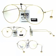 Nerd Gold Metal Ball Arm Tip Round Pilots Clear Lens Eye Glasses - $12.95