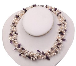 JYX Three-strand 6-7mm White Cultured Freshwater Pearl And Purple Crysta... - $53.21