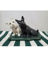 Antique Twin Scottie Dog Scottish Terrier Cast Iron Doorstop Metal Art - $77.22
