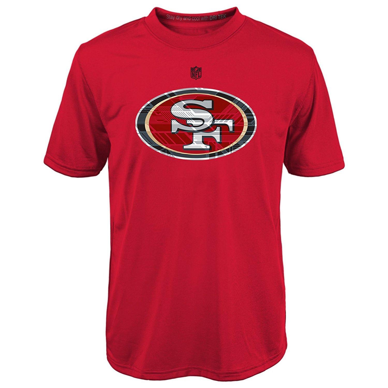 San Francisco 49ers Boy's 8-18 Shirt NFL Power Grid Logo Short Sleeve DriTek Tee