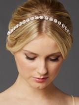 Rose Gold Bridal Headband with Genuine Preciosa Crystals and Ivory Ribbon - $91.68