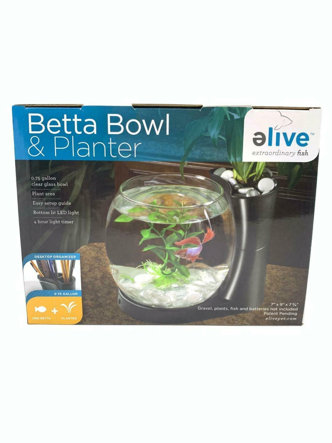 Primary image for Elive Betta Fish Bowl & Planter Set Up Tank Kit Black .75 Gallon LED Light Timer