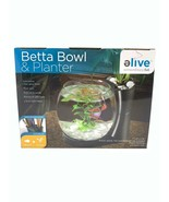 Elive Betta Fish Bowl & Planter Set Up Tank Kit Black .75 Gallon LED Lig... - $17.99
