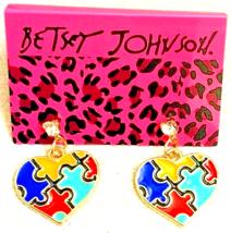 BETSEY JOHNSON Multi-color Puzzle Heart Dangling Crystal Pierced Stud Ea... - $9.99