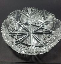 American Brilliant Period hand Cut Glass dish wheel polished sharp ANTIQUE ABP - $92.22