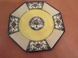 "Wedgwood ""Nannette""  Pattern Octagonal Lunch Plate, England Yellow Black... - $24.85"