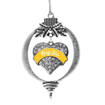 Inspired Silver Marigold Big Sister Pave Heart Holiday Christmas Tree Ornament W - $14.69