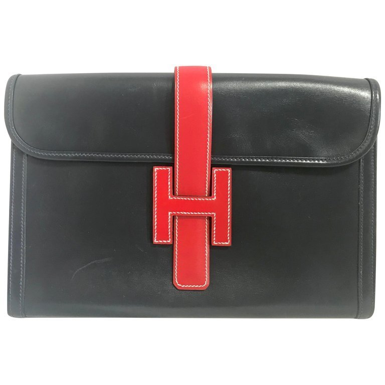 Primary image for Vintage HERMES navy and red jige PM boxcalf leather document case, portfolio bag