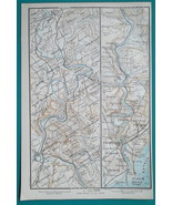 1897 BAEDEKER MAP - WALES Wye River Ross > Chepstow + Gloucester Cathedr... - $7.65