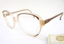 New Vtg NINA RICCI Paris Eyeglasses Frames Brown Striped Clear 57-16 Fra... - $59.35