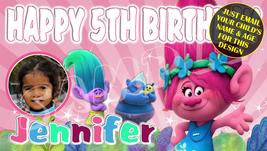 Trolls , Princess Poppy Custom Personalized Birthday Banner w/Photo - $39.95