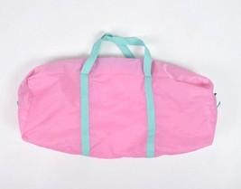 Vtg 90s Retro Bubblegum Pink Nylon Canvas Duffle Travel Gym Bag Satchel ... - $24.74