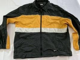 Vintage Nike Windbreaker 90's Jacket Men's Medium Black/yellow White Mint - $26.60