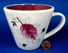 Starbucks Leaves Mug 2007 Red Black And Cream Raised Leaves - $12.00