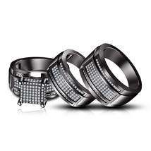 White Diamond 14k Black Gold Over 925 Sterling Silver Mens Womens Trio R... - $160.99