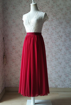DARK RED Chiffon Maxi Skirt Women Full Maxi Chiffon Skirt Dark Red Wedding Skirt image 2