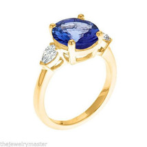 TANZANITE & DIAMOND ENGAGEMENT RING 10mm ROUND PEAR YELLOW GOLD 4.89 CARATS - €4.631,43 EUR