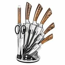 Velaze, Messer Set, 8-teilig Edelstahl Kochmesser mit Messerblock, Braun... - $37.86