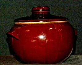 Glazed Ceramic Brown Bean Cook Pot with Lid AA19-1624 Vintage USA image 6