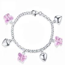 Women Pink Butterfly Crystal Hearts Bracelet Solid Sterling Silver Jewelry - $31.99