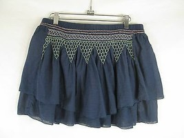 Boho Embroidered Layered Mini Skirt Womans Small Blue Elastic Smocking Beach - $14.46