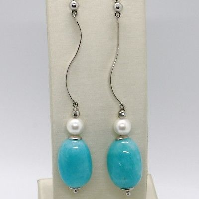925 STERLING SILVER PENDANT ONDULATE EARRINGS WITH BIG OVAL BLUE QUARTZ & PEARL
