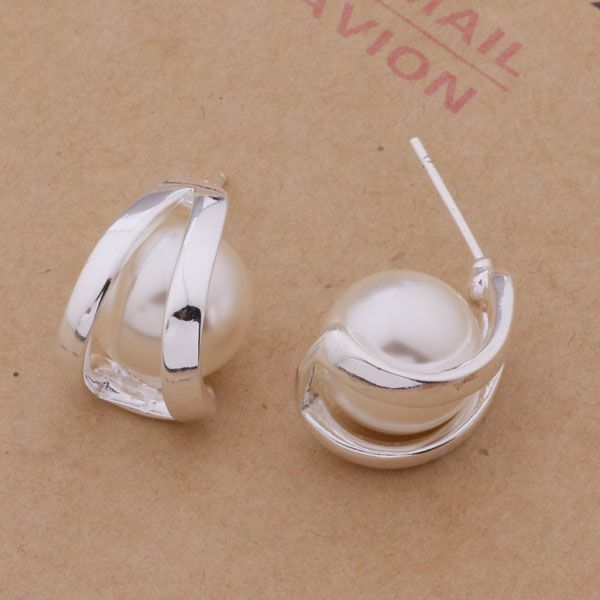 Primary image for Cradled Pearl Stud Earrings 925 Sterling Silver NEW