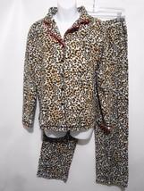 Ellen Tracy Womens S Animal Print Fleece Long-Sleeve Pajamas Set Top & B... - $43.61
