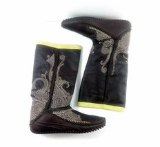 Puma Women's Boots Monsoon Tall Leather Embroidered Brown/Green Booties 7.5 W image 9