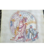 "EMBROIDERED THREE WISEMEN 18"" x 19"" Wall Hanging PANEL or PILLOW TOP--12"" x 13""  - $19.80"