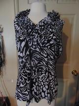 Dressbarn Black White Ruffle Dressy Shirt Blouse Tank Top XL  - $14.85