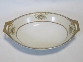 Meito China Oval Vegetable Bowl Gold Rim Orange Grey Line Floral Urns 11... - $9.74