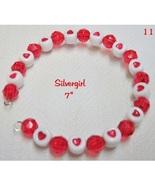 Red Heart Bead Memory Wire Cuff Bracelet - $9.99