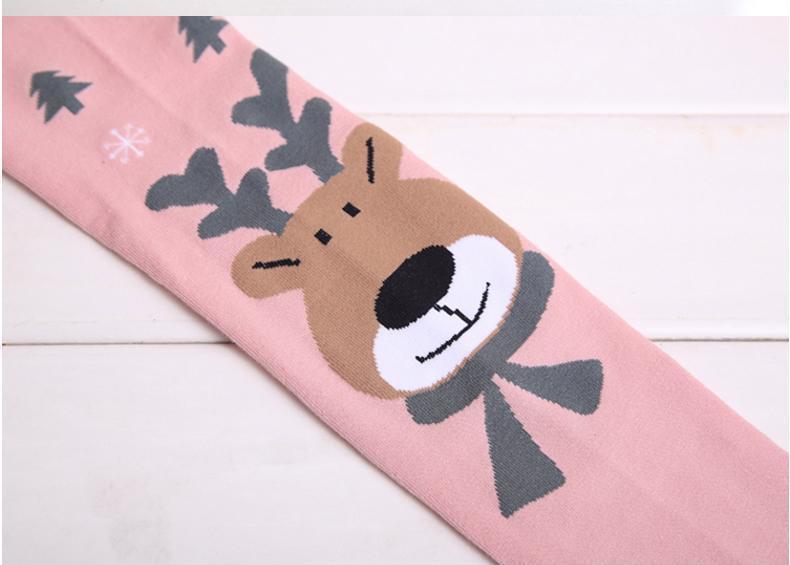 Cute Animal Print Christmas Stockings Girl Kids Deer Tight Long Pantyhose Pants