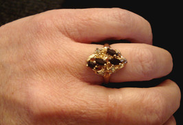 Red Rhinestone Cluster Cocktail Ring 18K Hge Costume Jewelry Size 7 Gold Plated - $19.75