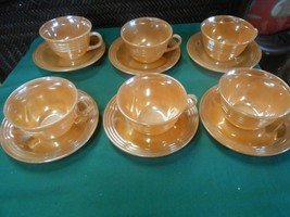 Beautiful FIRE KING Lusterware Marigold Set of 6 CUPS & SAUCERS - $22.36