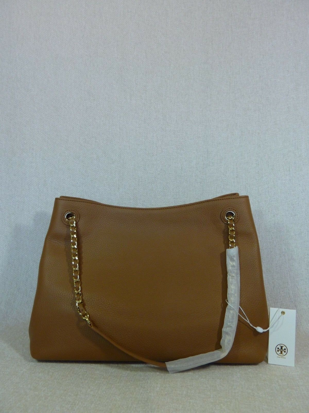 NWT Tory Burch Bark Brown Pebbled Leather Thea Chain Slouchy Tote $495 image 7