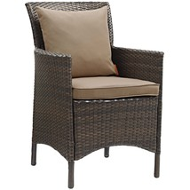 Conduit Outdoor Patio Wicker Rattan Dining Armchair Brown Mocha EEI-2801... - $244.75