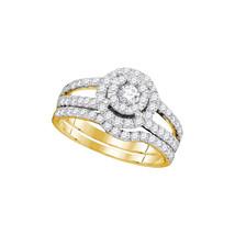 14k Yellow Gold Round Diamond Bridal Wedding Engagement Ring Band Set 1.00 Ctw - $1,499.00