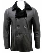 Men's New WInter Handmade Black Sheepskin Fur Lined Leather Coat SC103 - $699.00 - $799.00