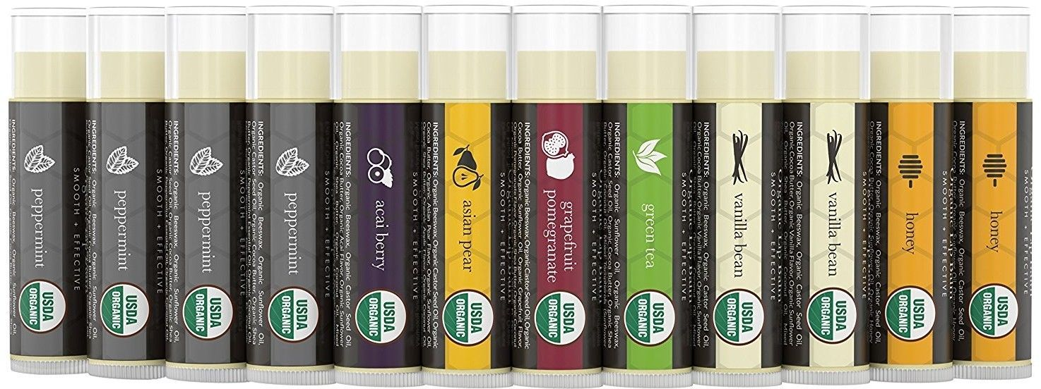 Beauty By Earth Organic Lip Balm Set; 12 Pack Of Long Lasting Pure Natural For